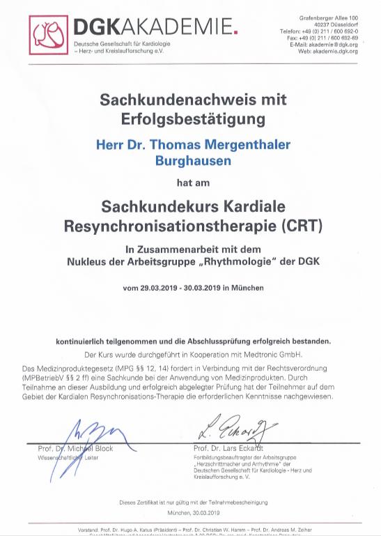 Sachkundekurs Kardiale Resynchronisationstherapie (CRT)