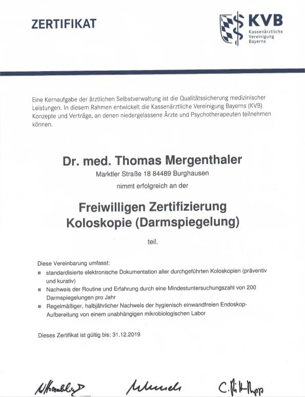 Freiwillige Zertifizierung Koloskopie (Darmspiegelung)