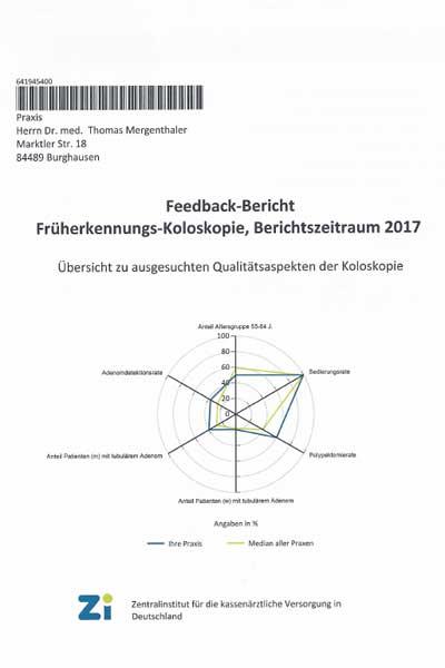 Bericht des ZI zur Früherkennungs-Koloskopie 2017