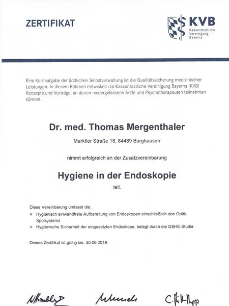 Zertifikat Hygiene in der Endoskopie